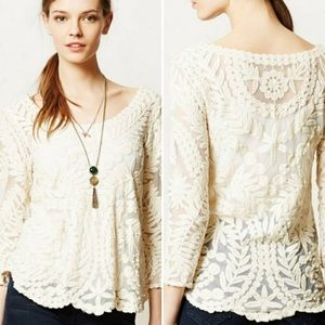 Anthropologie Meadow Rue Lace Gracie Top Cream XS